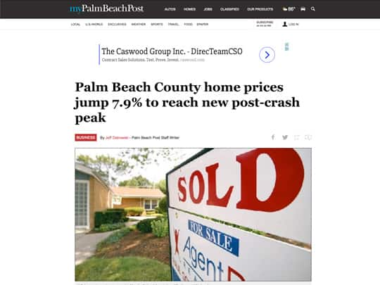 Palm Beach Post article on Realtors of the Palm Beaches association