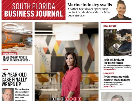 South Florida Business Journal Cover Sept 2017