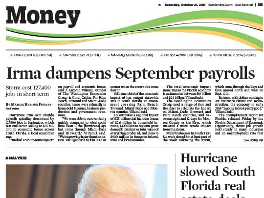 Sun-Sentinel cover story place by Polin PR