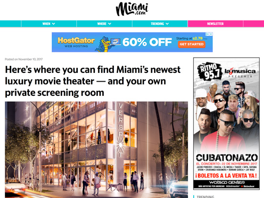 Miami.com story on Silverspot Cinema, placement by Polin PR