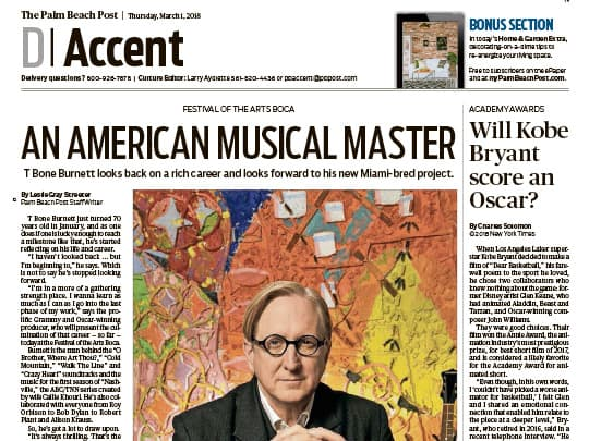 Palm Beach Post cover of T Bone Burnett placement by Polin PR