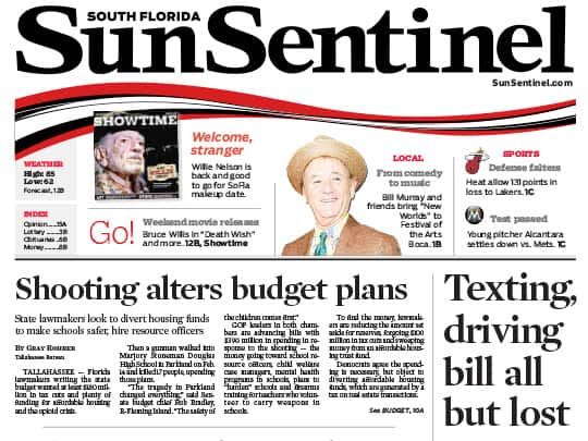 Bill Murray story Sun-Sentinel placed by Polin PR