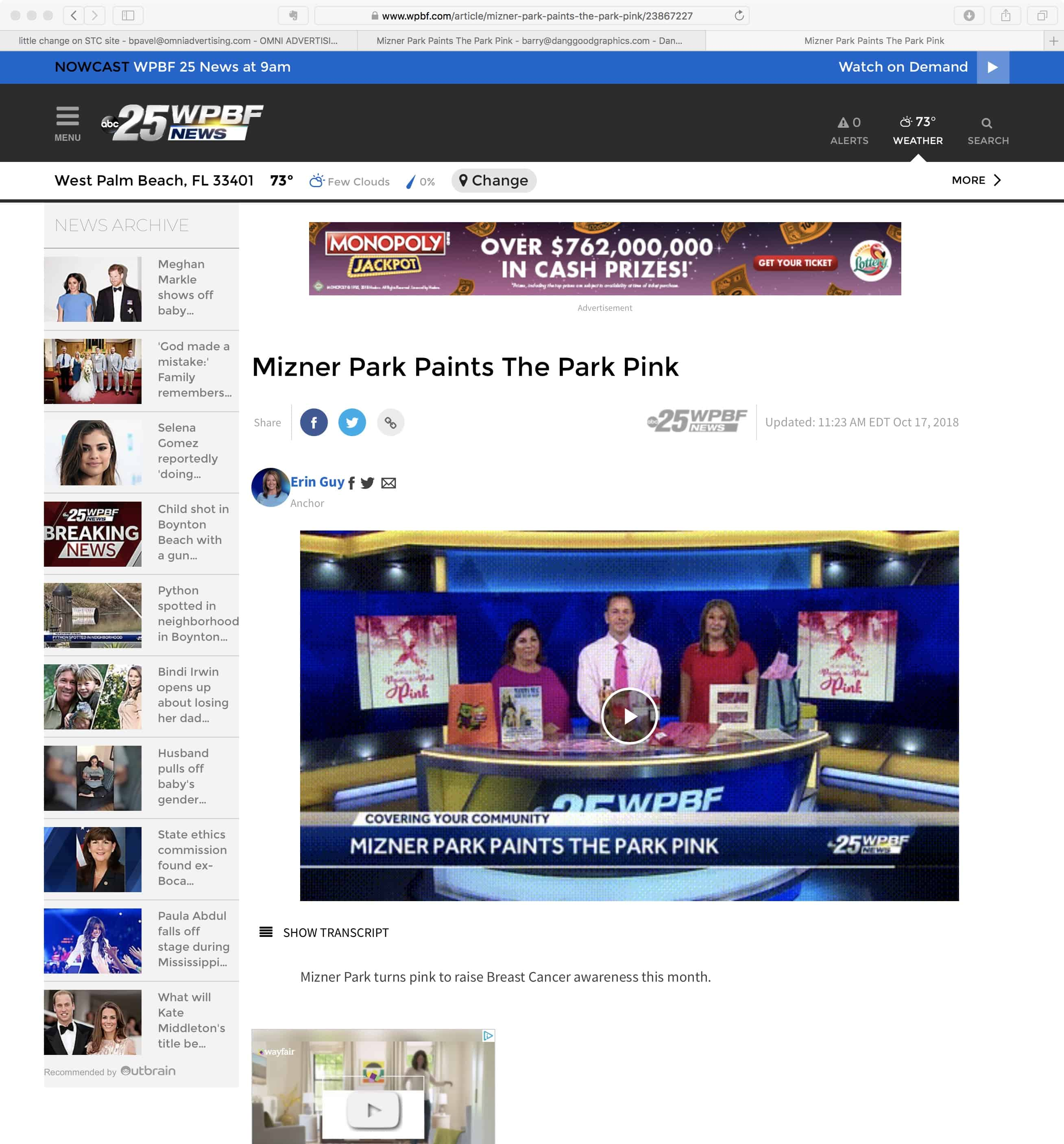 Polin PR placement WPBF.com for City of Boca Raton