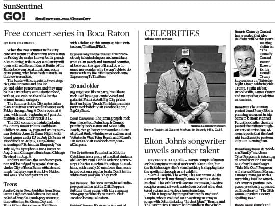 Polin PR placement for Boca Raton in Sun-Sentinel GO! section