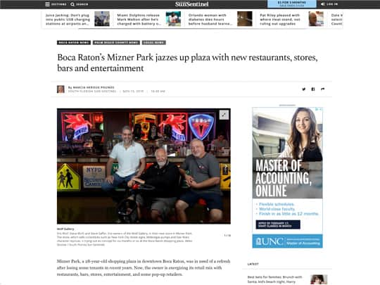 polin pr placement in sun-sentinel.com for Boca Raton Mizner Park