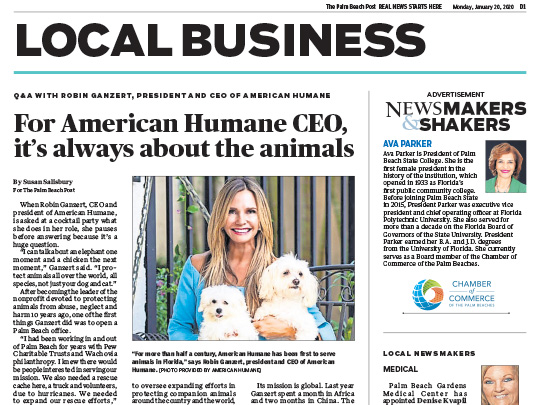 Polin PR placement in Palm Beach Post for American Humane