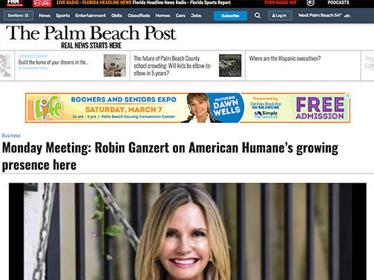 Polin PR placement for American Humane on PalmBeachPost.com