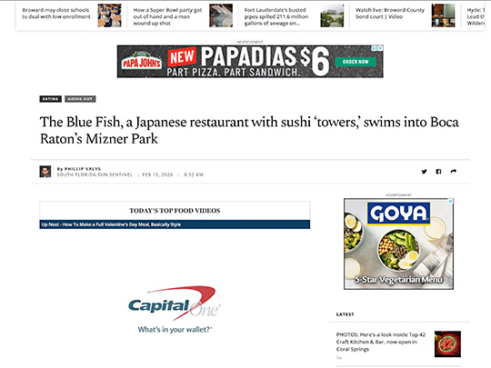 Placement by Polin PR in Sun-Sentinel.com for City of Boca Raton