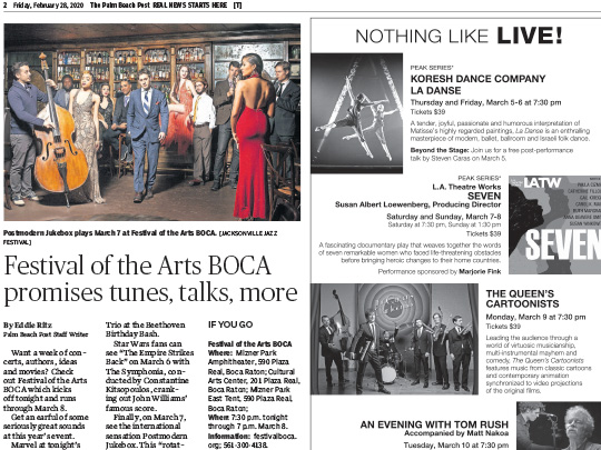 Polin PR placement for Festival of the Arts BOCA