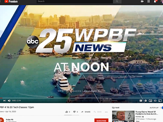 polin pr placement for groovy tech on WPBF news