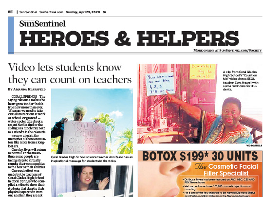 Polin PR placement Sun-Sentinel for Helping Hands
