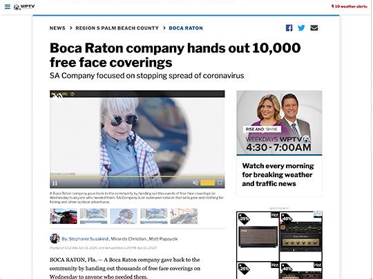 Polin PR placement on WPTV.com for SA Company