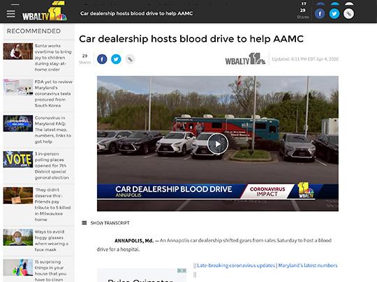 screenshot wbaltv polin pr placement Sheehy Lexus Annapolis