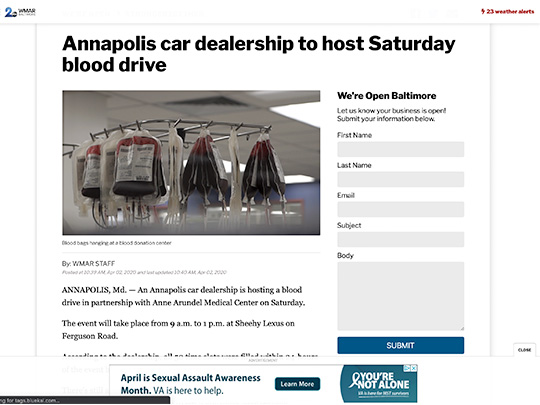 polin pr placement wmar2news.com for Sheehy Lexus of Annapolis