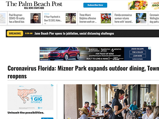 Polin PR placement Mizner Park PalmBeachPost.com