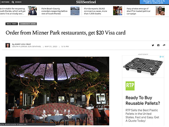 polin pr placement for Mizner Park in Sun-Sentinel.com