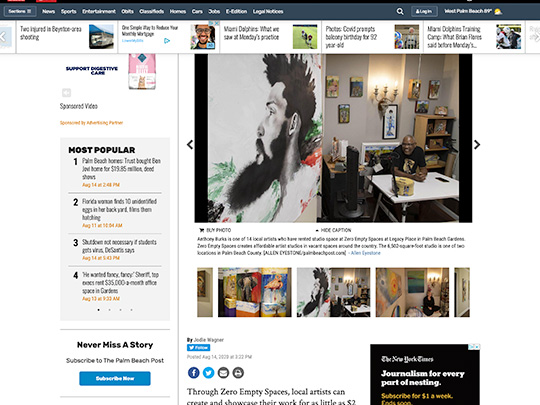 PalmBeachPost.com screenshot placement by Polin PR for Legacy Place