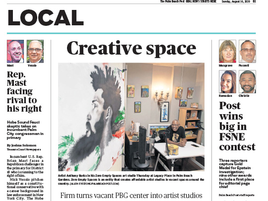 palm beach post local section placement by polin pr for legacy place