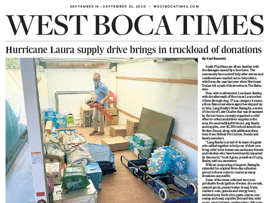 Lang Realty story in West Boca Times placed by Polin PR