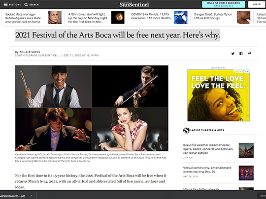 festival of the arts boca sun sentinel.com placement by polin pr