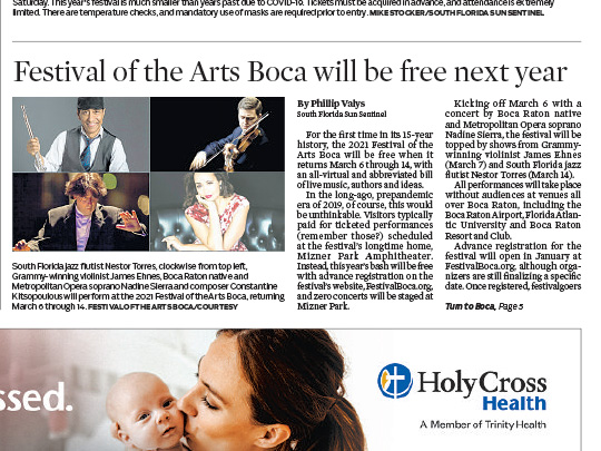 festival of the arts placement in sun-sentinel by Polin PR
