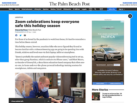 Polin Pr placement for Groovy Tek in palmbeachpost.com