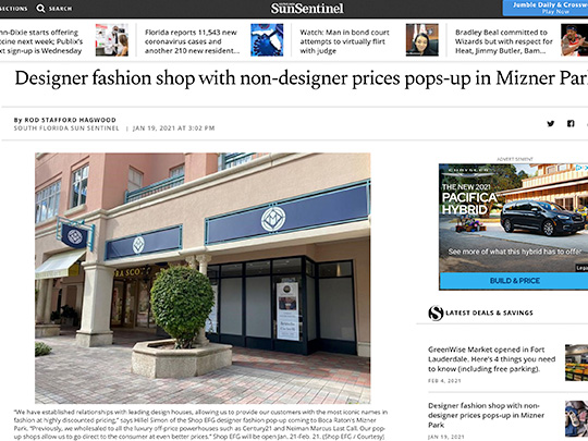 polin pr placement in sun-sentinel.com for Mizner Park