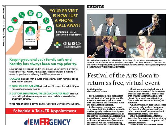 polin pr placement Delray Sun for Festival of the Arts Boca